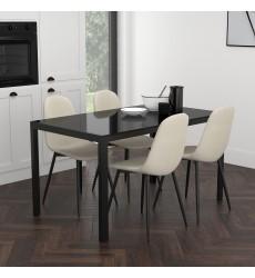 Contra Bk/Olly Bg-5Pc Dining Set (207-843BK/606BG) - Worldwide HomeFurnishings