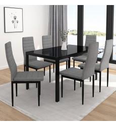 Contra-7Pc Dining Set (207-843BK_GY) - Worldwide HomeFurnishings
