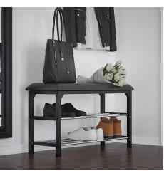 Foster-2 Tier Shoe Bench-Black (401-095BK) - Worldwide HomeFurnishings