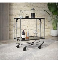 Sumi-2-Tier Folding Bar Cart-Black (556-092BK) - Worldwide HomeFurnishings