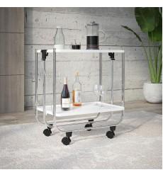 Sumi-2-Tier Folding Bar Cart-White (556-092WT) - Worldwide HomeFurnishings