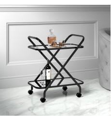 Oriso-2-Tier Bar Cart-Black (556-093BK) - Worldwide HomeFurnishings