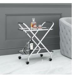 Oriso-2-Tier Bar Cart-Chrome (556-093CH) - Worldwide HomeFurnishings