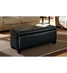 Worldwide - Abby Storage Ottoman - Black (402-715BK)