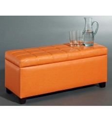 Worldwide - Abby Storage Ottoman - Orange (402-715OR)