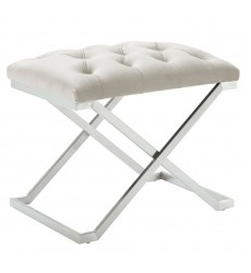 Aldo-Single Bench-Ivory/Silver (401-103IV) - Worldwide HomeFurnishings
