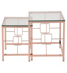 Worldwide - Athena 2Pc Nesting Tables - Rose Gold (513-747RG)