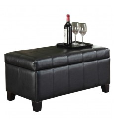 Bella-Storage Ottoman-Black (402-449BK) - Worldwide HomeFurnishings