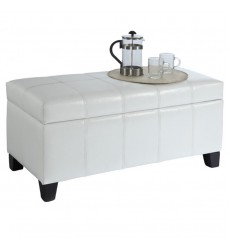 Worldwide - Bella Storage Ottoman - White (402-449WT)