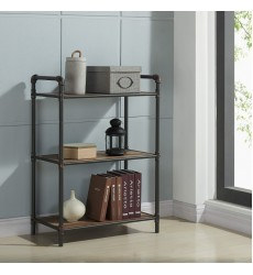 Bronx-3 Tier Étagère-Antique Black (505-267BK-3T) - Worldwide HomeFurnishings