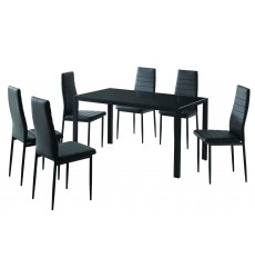 Worldwide - Contra 7Pc Dining Set - Black (207-843BK)