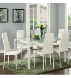 Worldwide - Contra 7Pc Dining Set - Whte (207-843WT)