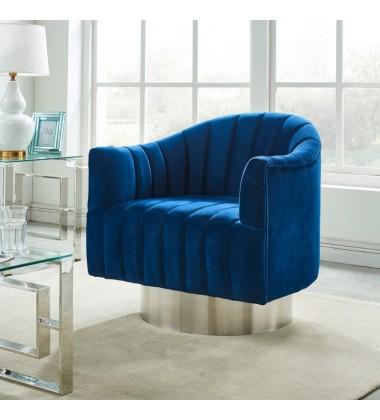 Cortina-Accent Chair-Blue/Silver (403-433BLU)