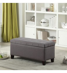 Worldwide - Elena Storage Ottoman - Grey (402-136GY)
