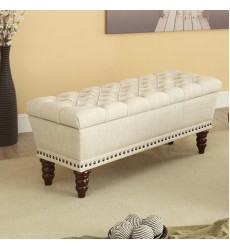 Hampton-Storage Bench-Beige (401-317D-BG)
