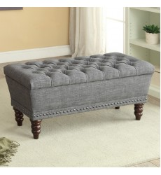 Hampton-Storage Bench-Grey (401-317D-GY)