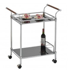 Henry-2Tier Bar Cart-Chrome/Black (82960-05CR/BKG)