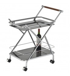 Turner-2Tier Bar Cart-Chrome/Black (80146-07BCR/BKG)
