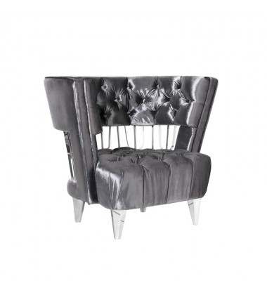 Xcella - Bentley Accent Chair: E. Charcoal Velvet GY-AC-8105